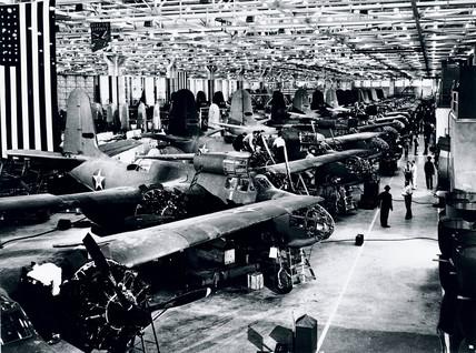 Asembly line, Douglas Aircraft Company, California, USA, c 1943.