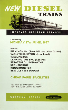 'New Diesel Trains', BR (WR) poster, 1957.