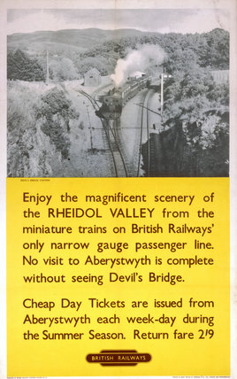 'Rheidol Valley - Devil's Bridge', BR (WR) poster, 1960.