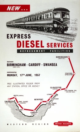 'New Expres Diesel Services between Birmingham and Swansea', 1957.