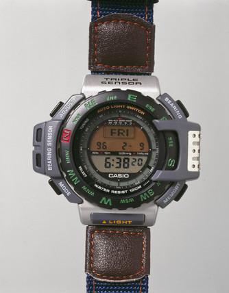 Casio digital quartz wristwatch, model PRT-40E, 1998.
