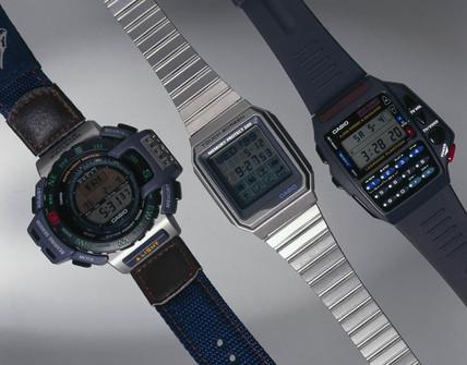 Three Casio digital watches, 1990s.