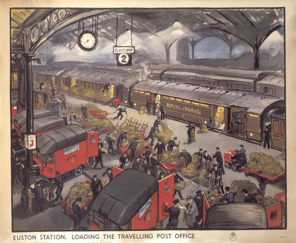 'Loading the Travelling Post Office', GPO poster, c 1950.