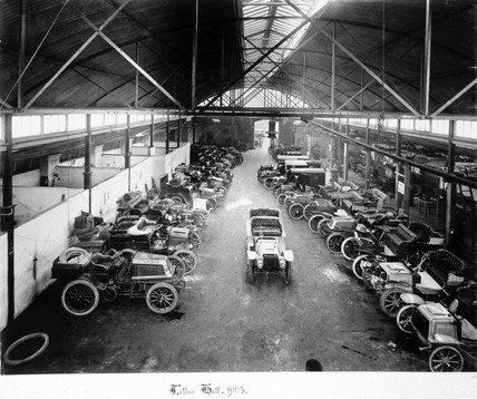 C S Rolls' car showroom, Lillie Hall, Fulham, London, 1903.