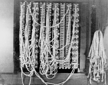 A 'Bombe' code-breaking machine at Bletchley Park, 1943.