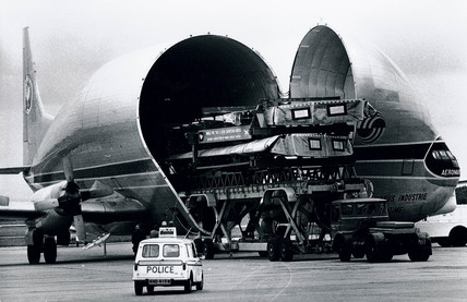 Transporting the wings for an Airbus by Super Guppy cargo plane, 1974.