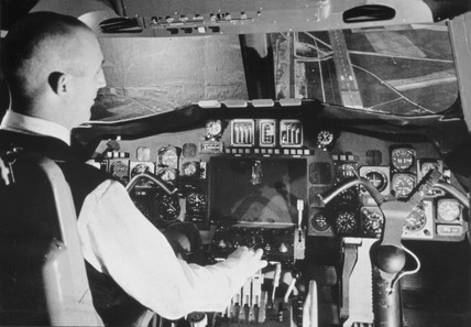 Pilot's eye view from the cockpit of the 'Concorde', 25 May 1966.