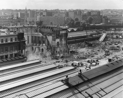 Demolition of the Great Hall, Euston Station, London, August 1963.