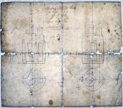 Four-way plug cock for steam distribution, 1804.