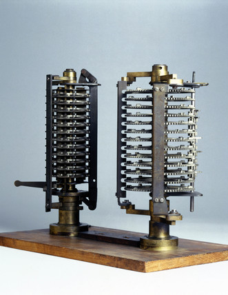 Two experimental models for Babbage's Analytical Engine, c 1870.