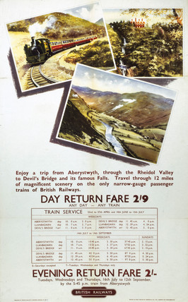 'Aberystwyth through the Rheidol Valley', BR poster, 1960.