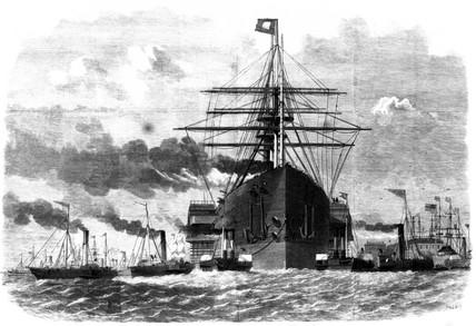 'Great Eastern' rounding point opposite Blackwall, 1859.
