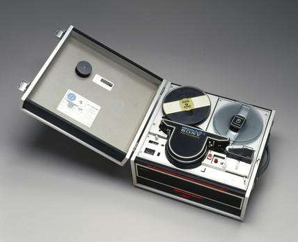 Sony videocorder, model CV-2100, black & white video recorder, c 1970s.