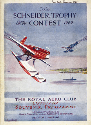 Schneider Trophy Contest programme, September 1929.
