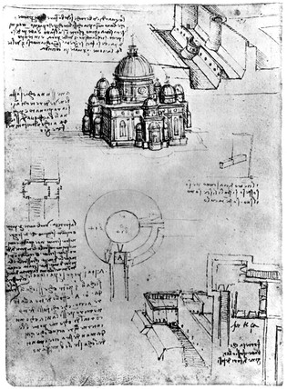 Da Vinci designs for a fortres and a church, late 15th century.