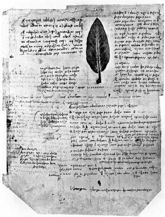 Page from Leonardo da Vinci's notebooks, late 15th century.