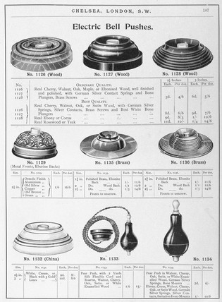 'Electric Bell Pushes', c 1902.