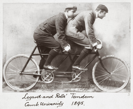 C S Rolls and Legard riding a tandem, Cambridge, 1895.
