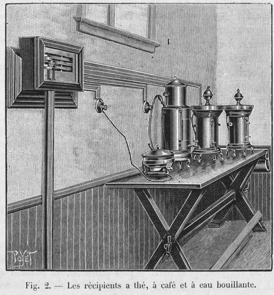 Urns containing tea, coffee and boiling water, 1900.