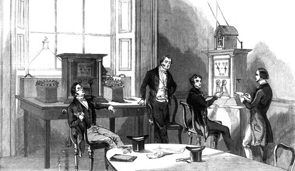 Playing ches via the electric telegraph, 1845.