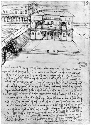 Leonardo da Vinci's notebooks, showing a section of town at two levels.