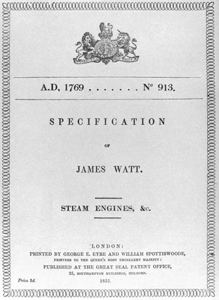 James Watt's patent record, 1769.