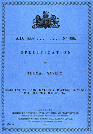 Savery patent for a pumping steam engine, 1698.