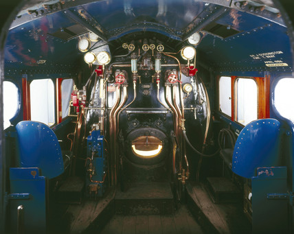 Cab of 'The Mallard', London & North Eastern Railway locomotive no 4468, 1938.
