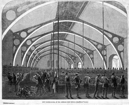 'New Sorting-room at the General Post Office', London, 1846.