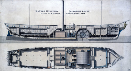 Paddle Steamer 'London Engineer', 1818.
