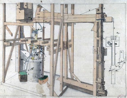 Newcomen atmospheric engine, c 1730.