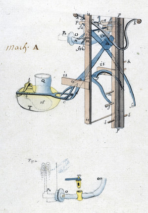 Newcomen atmospheric engine, c 1730.