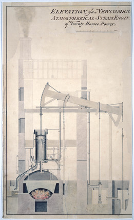 'Elevation of a Newcomen Atmospherical Steam Engine', c 1826.