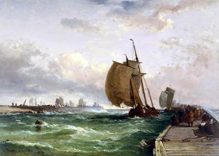 Dutch luggers entering harbour, Dunkirk, France, 1886.