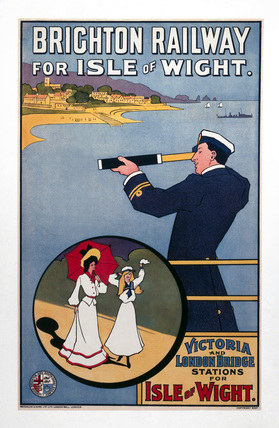'Brighton Railway for the Isle of Wight', LBSCR poster, c 1910.