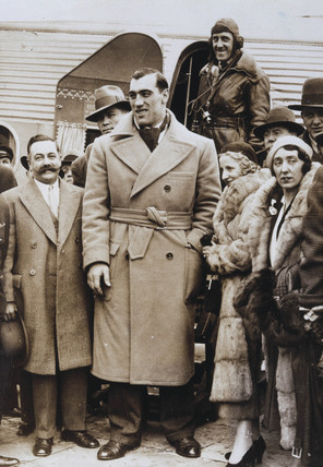 Primo Carnera arrives at Croydon Airfield, 9 March 1932.