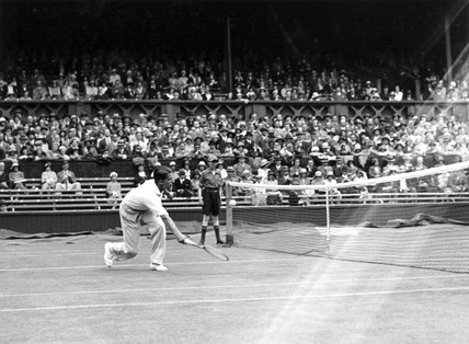 Tennis player Fred Perry in action at Wimbledon 1931.
