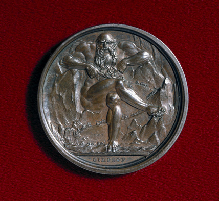 'Mountain Spirit', reverse side of Simplon medal, 1807.