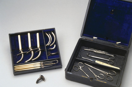 Set of tracheotomy instruments, c 1871-1900.