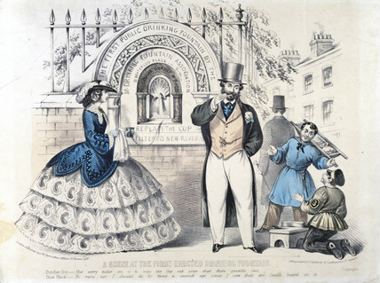'A scene at the first erected public drinking  fountain', London, 1859.