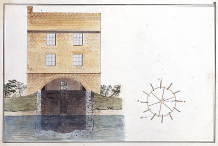 Corn mill float wheel (elevation), late 18th century.