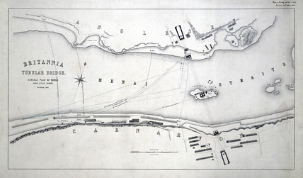 Plans for the Britannia Tubular Bridge over the Menai Straits, Wales, 1848.