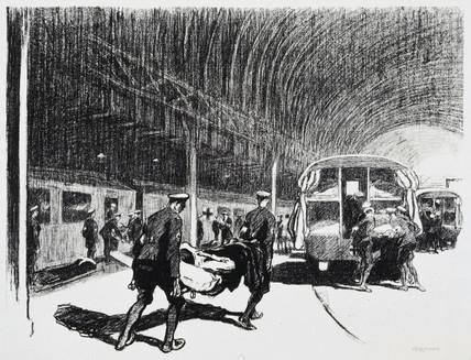 'Detraining in England', c 1914-1918.