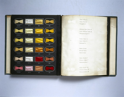 A book of dye samples, c 1910.