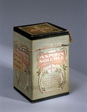 Medicine carton containing soluble aspirin powder, c 1900.