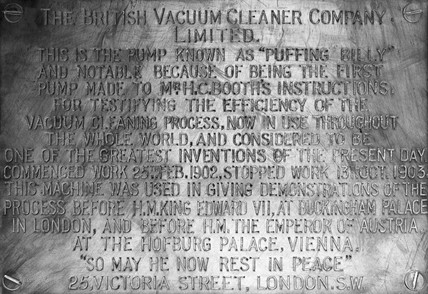 Plaque commemorating Booth's 'Puffing Billy