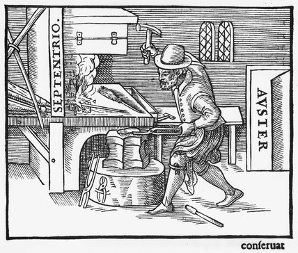 'Magnetising an iron rod', 1600.