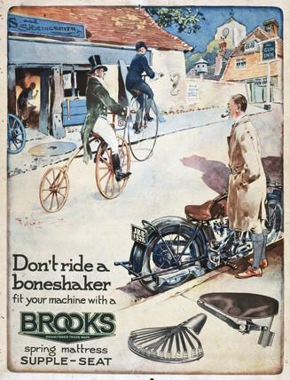 Display card advertising Brooks motorcycle seats, c 1926.