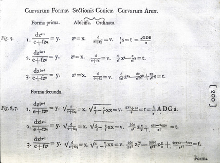 Formulae on curved forms, 1704.