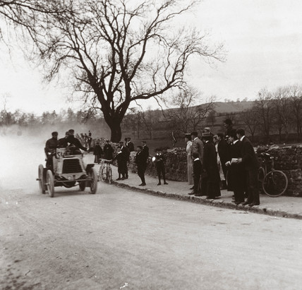 C S Rolls passing spectators during the 1000 Mile Trial, 1900.